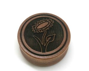 Pair of Engraved Vegan Sunflower [Cherrywood / Wood Stretchers 10mm - 60mm] Price Per Pair