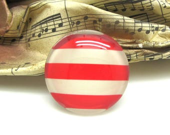 1 cabochon 25 mm glass red striped sailor spirit - 25 mm