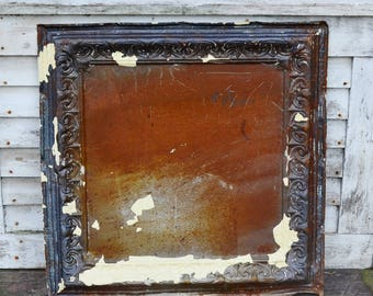 """Vintage Ceiling Tile 24"""" Embossed Metal Ornate Brown Copper Cream Rust Chippy Distressed Paint Rusty Tin Architectural Salvage Repurpose"""