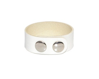 Leather Bracelet White / Leather Band Bracelet, Leather Cuff Bracelet / Mens Bracelet, Leather Wristband, Leather Wrap Bracelet