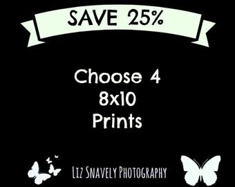 Four Photo Prints, 4 Photo Prints, 4 8x10 Prints, Set of 4 8x10 Prints, 8x10 Photos, 25% Off, Four 8x10 Photos, Choose 4 - 8x10 Prints