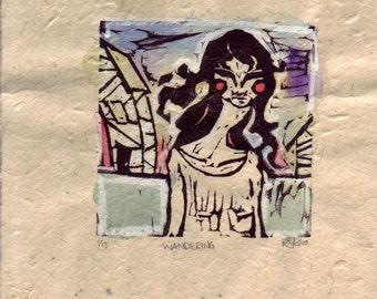 SALE! Original Surreal Art - Hand painted block print WANDERING monoprint gouache, watercolor, homesick, lost, sadness, loneliness, # 1/13
