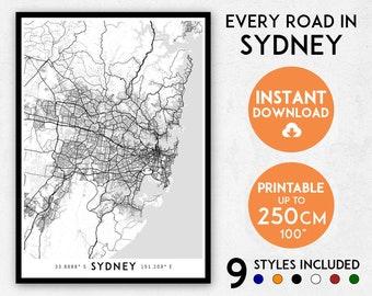 Sydney map print, Sydney print, Sydney city map, Australia map print, Sydney poster map, Sydney wall art, Map of Sydney, Sydney art print