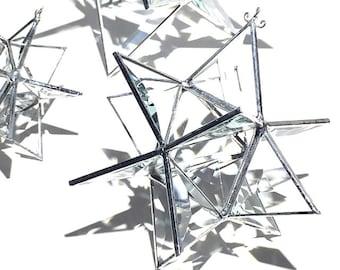 Vous choisissez n'importe quelle taille - vitrail 3D Star Moravie - géométrique Noël vacances décoration Clair Suncatcher prismes décoration