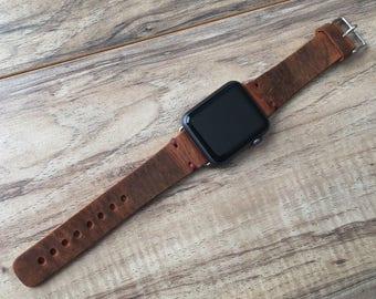 Apple Watch Band, iwatch band,apple watch band 38mm 42mm,apple watch,apple watch leather band Made in USA - Cinnamon Color -Purple Stitching