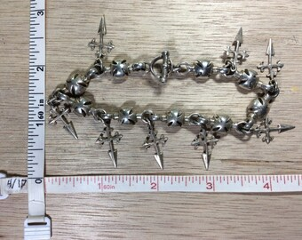 Vintage 925 Sterling Silver 35.1g Maltese Crosses Bracelet Used