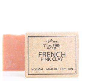 French Pink Clay Soap,Unscented Vegan Soap, Clay Soap, French Clay Soap, Natural Soap, Handmade Soap, Palm Free Soap, Facial and Body Soap