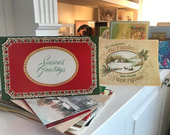 SALE 70s Used Lot of Vintage Christmas Cards-Scrapbooking-Planners-Paper Decoration-Display Cards- Merry Christmas Religious Cards