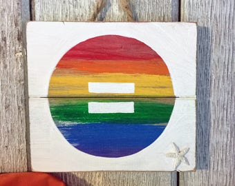 Equality Pallet Sign - Gay Equality Art, Gay Flag Decor, Wooden Gay Pride Decor, Upcycled LGBT Sign, Gay Pride LGBT Home Gift