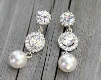 Bridal cubic zirconia white Swaroski crystal pearl wedding jewelry graduation party  earpost dangle, earrings