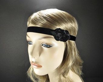Black Flapper Headband, 1920s Great Gatsby Headpiece, Art Deco Beaded Headband, Downtown Abby, Gatsby Bachelorette Party, Roaring 20s Party