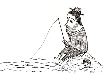 Fishing /Original black and white ink drawing / original drawing / fish