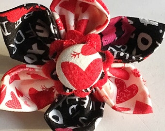 Red & Black Valentine's Day Heart Flower for Girl Dog or Cat Collar