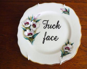 F*ckface hand painted vintage bone china plate with hanger recycled humor sweary display decor