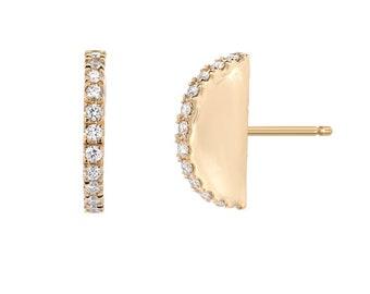 Ear Fan, Gold Stud, Crescent Stud, Pave Diamond Earrings, Pave Studs, Gold Diamond Earrings, Unique Diamond Studs, Silhouette Earring, NIXIN