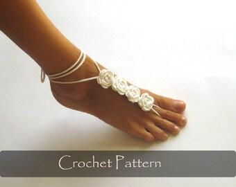 CROCHET PATTERN - Rose Crochet Barefoot Sandals Nude Shoes Pattern Bridal Shoes Tutorial Bridesmaids Wedding Foot Jewelry PDF - P0029