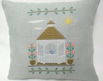 Gazebo Cross Stitch Mini Pillow, Spring Summer Decor, Flowers, Outdoor Structure