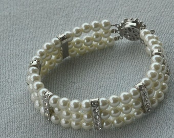Glass Pearl Bracelet, select color, Wedding Bracelet, 3 rows bracelet, Crystal bracelet, Bridesmaid Bracelet, Jewelry, pearl Bracelet