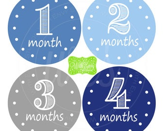 Blue Baby Monthly Stickers - Baby Bodysuit Stickers - Monthly Baby Stickers - Baby Boy Stickers - Blue and Grey Milestone Stickers - 059