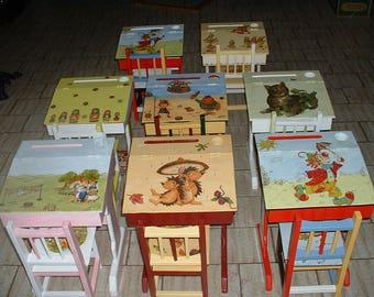 BUREAU PUPITRE BOIS écolier  comme autrefois -création artisanale-