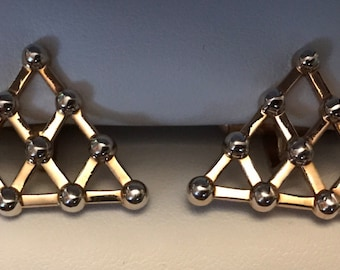 Vintage SWANK Matchstick Pyramid Goldtone and Silver Cufflink Set