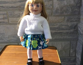 """Pullover or cardigan sweater and forest print skirt. Coordinates to mix and match. Handmade and fully washable. For all 18"""" fashion dolls."""