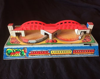 Vintage Tin Toy, Wind Up Toy, Two Trains Passing Under a Bridge - 1970