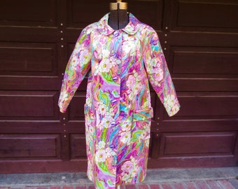 RARE 60s Oil Cloth Raincoat Psychedelic Floral Mod Supermodel Coat, Fashionista, 1960s Fashion Museum, Suzanne Pound, Jackpot Jen Vintage