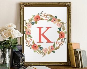 Monogram art print, nursery wall art girl, floral wreath print, nursery decor, Custom monogram print, nursery print, personalized BD-481