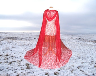 Red Cape - Cloak -  Hooded - Wedding - Gothic - Lace- Medieval - Vampire- Costume - Renaissance Halloween - Fantasy- CosPlay - Steampunk