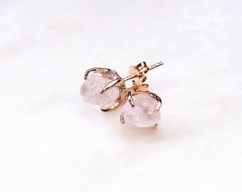 2 PAIRS @ 10% OFF: Rose Gold Rose Quartz Earrings. Rose Quartz Earrings. Pink Wedding Earrings. Pink Bridal earrings. RRP 178 Aud.