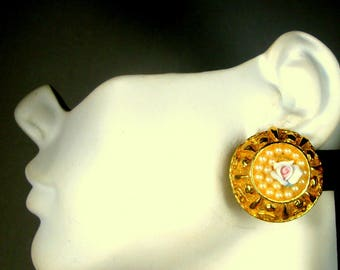 SALE, Round Gold n Pearl Clip Earrings, 1980s Unused,Gift Worthy, Imelda Marcos Stagewear, Pink Rose Flower in Center