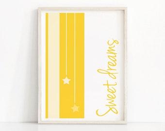 Sweet Dreams Nursery Print, Printable Nursery Art, Gender neutral Baby Wall Art, Digital Nursery Art Yellow Nursery Decor, Baby Art Print