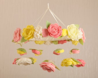 Crib Mobile Baby Girl Nursery Decor Personalized Nursery Mobile Baby Mobile Floral Mobile Felt Mobile Flower Mobile Baby Mobiles Hanging