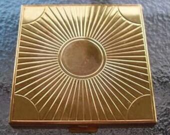 Vintage Volupte Brass Compact Art Deco Sunburst Design Compact Powder Included