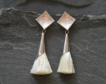 Ivory tassel earrings, Textured silver post earrings, Tassel Jewelry, Boho Chic Earrings, Bohemian jewelry for women, 1142-6