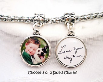 Handwriting Charm fits Pandora Bracelet Dangle Charm Gift for Wife Memory Charm for Bracelet Signature Charm Mom Gift for Grandmom Photo Gif