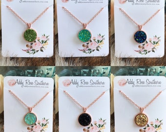 12mm druzy necklace in rose gold, druzy necklace, druzy jewelry, rose gold druzy, bridesmaid gift, wedding jewelry, rose gold druzy necklace