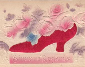 Red Satin Shoe W Embossed Pink Roses Unused Antique Postcard C1910
