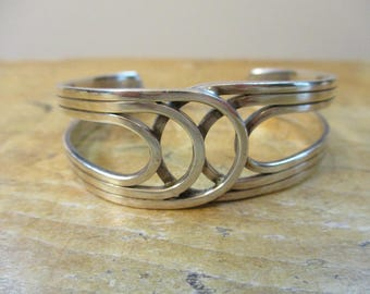Vintage Sterling Silver Cuff Bracelet Signed MEXICO 925