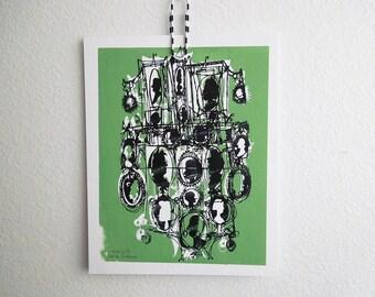 KAMEEN #146 | frische Spaß Familienportraits | Seladon grün und beunruhigt schwarz | Fine Art print (8 x 10)