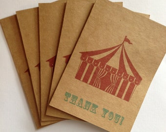 Big Top Tent Circus Thank You Cards- Vintage Circus Inspired- Wedding, Birthday Party, Baby Shower (10)