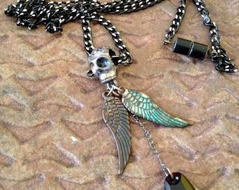 Vintage Steampunk Skull Necklace,Angel Wings,Black Glass Heart