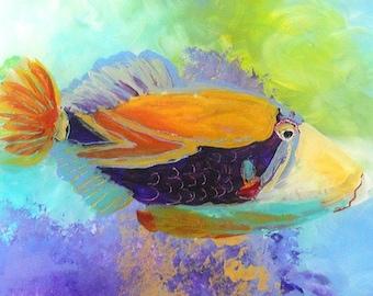 Kauai Tropical Fish Art -  5x7 giclee art print - whimsical art - artwork for kids - Hawaiian Humu Fish - Hawaii Wall Art - Animal painting