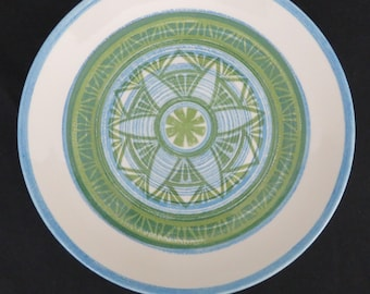 "2 Royal China 10"" Dinner Plates -  RYL86 Geometric Flower Pattern - Blue and Green Mid Century Plate Set"