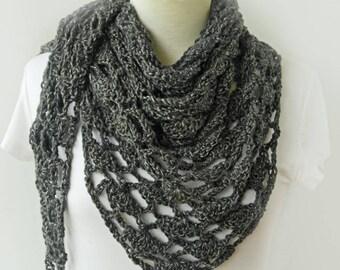 Gray Knitted Shawl - Grey Winter Scarf - Triangle Shawl - Dark Gray Crochet Shawl