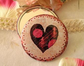 Pocket Mirror - Little Stitched heart purple