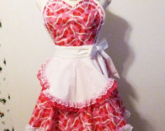 Red White Hearts on Pink Sweetheart Full Flared Double Skirt Apron, Valendtines Apron, Gift for Mom, Handmade, Made in the USA, #49