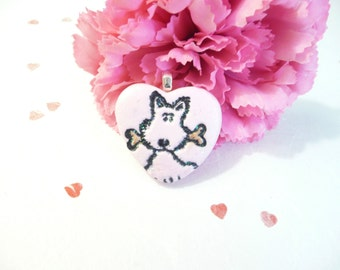Cute Dog Jewelry, Dog Heart Pendant Optional Necklace, Pink Jewelry, Pet Lover Gift, handmade polymer clay