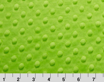 Green Minky from Shannon Fabrics > Cuddle Dimple ® Dark Lime < Smooth Dot  by the Yard
